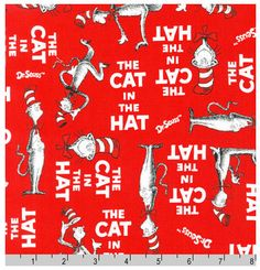 Designed by Dr Seuss Enterprises for Robert Kaufman The Cat in the Hat Red fabric is great for quilting, apparel and home decor. Dr Seuss Hat, Dr Suess, Dr Seuss Fabric, First Birthday Hats, Cat Patch, Cotton Blossom, Red Cat, Cat Walk, Classic Books