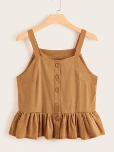 Color: Brown Details: Button, Ruffle Hem Fabric: Fabric has no stretch Fit Type: Regular Fit Length: Regular Composition: Polyester Neckline: Brown Fashion, Look Fashion, Girl Fashion, Girl Outfits, Casual Outfits, Cute Outfits, Fashion Outfits, Striped Cami Tops, Plus Size Tank Tops