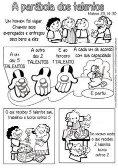 Tia Paula: Parábola dos talentos para colorir - Mateus 25, 14-30