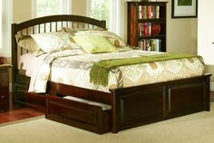 Windsor Antique Walnut Solid Wood Queen Bed w/Raised Panel Footboard