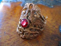 PHOENIX RISING Ring Vintage Brass Birds Of Fire and by blueoctober, $34.05