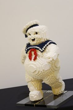 "It took a LEGO Master Builder over sixty hours to design and build this bad boy. | The Stay Puft Marshmallow Man From ""Ghostbusters"" Has Been Recreated In LEGO And It Is Awesome"