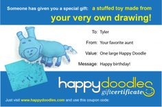 Gift certificate for custom made stuffed toy from your kid's drawing