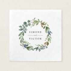 Shop Floral Wreath Custom Wedding Paper Napkins created by Dreammints. Personalize it with photos & text or purchase as is! Save The Date Wedding, Save The Date Karten, Floral Wreath Watercolor, Watercolor Painting, Custom Napkins, Wedding Name, Wedding Cards, Wedding Napkins, Wedding Invitations