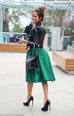 Brooke Burke in a moto jacket & green dress!