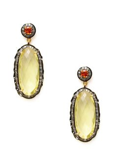 Orange Sapphire & Lemon Topaz Scalloped Oval Drop Earrings by Amrapali on Gilt.com