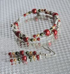 Christmas Bracelet and Earring Set by LinZysJewelry; only $20.00 plus shipping!