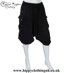 5f5b8190821 3 4 Length Plain Black Cotton Ali Baba Hippy Festival Shorts - One Size. Mystical  Mayhem Hippy Clothing and Gifts