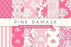 Pink Damask Seamless Digital Paper. Wedding Card Templates