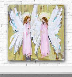 Angel Painting Guardian Angel Painting two von DevinePaintings