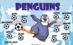 Penguins-151769 digitally printed vinyl soccer sports team banner. Made in the USA and shipped fast by BannersUSA. www.bannersusa.com