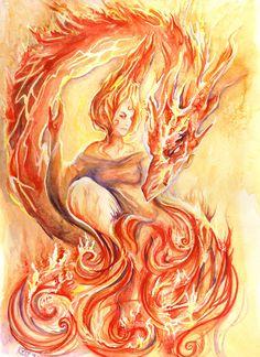 Elements - Fire by ArtLair on DeviantArt High Fantasy, Fantasy Art, Phoenix, Lynda Barry, Elemental Magic, Air Fire, Fire Element, Dragon Images, Into The Fire