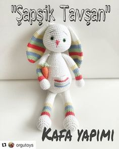 ( ・ ・ ・ Bunny Rabbit Body-Made 😊 - Crochet Rabbit Free Pattern, Easter Crochet Patterns, Crochet Dolls Free Patterns, Amigurumi Patterns, Crochet Crafts, Crochet Projects, Crochet Rope, Confection Au Crochet, Amigurumi Doll