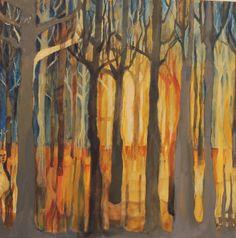 Miguel Curani. Artista plástico: en el bosque de ak IIoleo sobre tela50x50cm