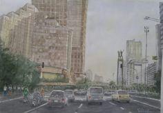 One fine day in Thamrin street, Jakarta. ( my bad watercolor arts)