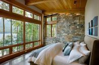 Compact yet stunning modern-rustic cabin perched over Swan Lake Rustic Lake House-Reid Smith Kindesign Cabin Homes, Log Homes, Construction Chalet, Future House, Rustic Lake Houses, Rustic Cabins, Luxury Log Cabins, Barn Houses, Modern Lake House