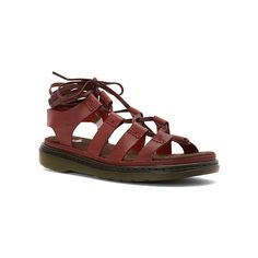 Dr. Martens Kristina Ghilllie Sandal ($95) ❤ liked on Polyvore featuring shoes, sandals, tie sandals, tie shoes, dr martens footwear, lacy shoes and summer shoes