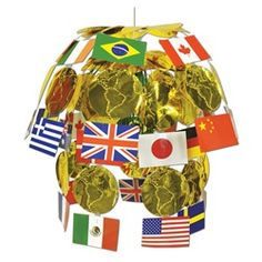 International flags party supplies and different flags on for International decor uk