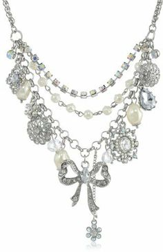 """Betsey Johnson Stone & Pearl"""" Faux Pearl and Bow Necklace, 19"""" on shopstyle.com"""