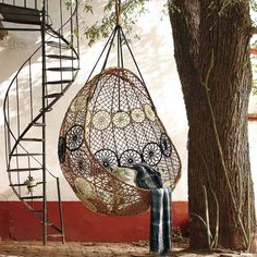 Sling this pod of citrus macrame hanging chair from porch rafters, tree branches or even living room beams. Great chair for chillin' and boho decoration. Hammock Swing Chair, Swinging Chair, Hanging Hammock, Hammock Ideas, Diy Hammock, Outdoor Hammock, Swing Chairs, Swing Seat, Wicker Swing