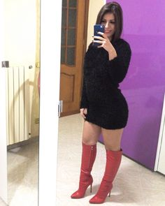 High Heel Boots, Knee Boots, Heeled Boots, Fashion Boots, Selfie, Heels, Leather, Outfits, Women