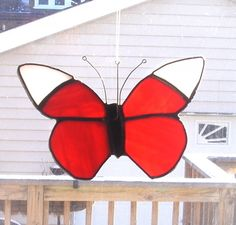 Stained Glass Red/Orange Butterfly Suncatcher by smashingglass, $17.00