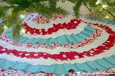 Aqua and Red tree skirt