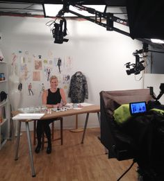 On set at F+W Media filming instructional fashion illustration DVDs! xo