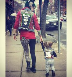 The apple doesn't fall far from the punk rock tree! Check out @seltsam_aimee in our split leg leopard jeans with her lil bb!