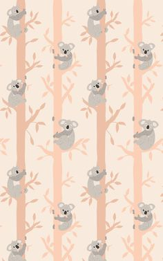 Create the cutest nursery or child's bedroom with this sweet koala design on your little one's walls! Our Tucki Tucki wallpaper is a pattern that mixes modern cartoon illustrations with a peachy color palette of creams, oranges, and soft grays. The result is an incredibly stylish wall design for kids' rooms, featuring the most adorable koalas at its heart. Perfect Wallpaper, Kids Wallpaper, Pattern Wallpaper, Cartoon Illustrations, Repeating Patterns, Kids Rooms, Cute Cartoon, Wall Design, Palette