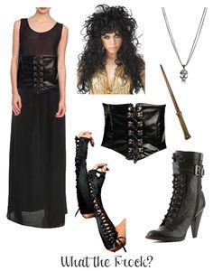 Belatrix Lestrange DIY costume. Hmm, my hair kinda looks like that when I wake up. Maybe I could pull this off?