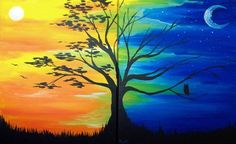 Day and Night Tree - warm and cool, sun and moon. Please also visit www. for more colorful art you might like to pin. Cool Paintings, Beautiful Paintings, Tree Paintings, Acrylic Painting Canvas, Art Soleil, Wine And Canvas, Warm And Cool Colors, Warm Colours, Pictures To Paint