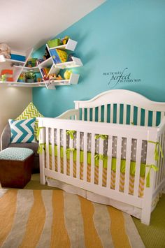 very cool nursery.. similar to what I am thinking about doing but I am not going to have lime green