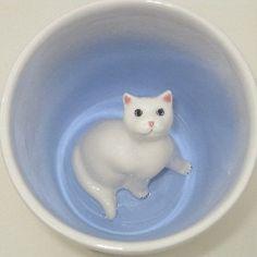 White Cat Surprise Mug by SpademanPottery on Etsy, $25.00
