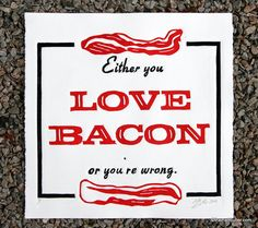 LOVE BACON Typographic Linocut Print by themattbutler on Etsy, $35.00