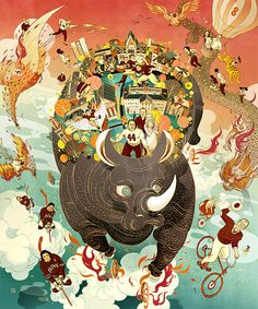 Los Angeles-based illustrator and storyboard artist Victo Ngai produces layered illustrations that reveal elaborate worlds filled with unexpected details. Art And Illustration, Illustrations And Posters, Victor Ngai, Storyboard Artist, Asian Art, New Art, Fantasy Art, Artwork, Art Drawings