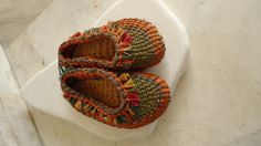 Vintage  hand woven Reed kids shoes by KamaraAntiques on Etsy