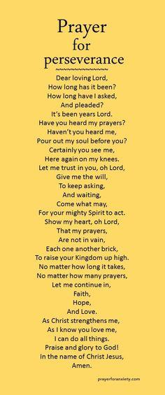 Prayer for perserverance