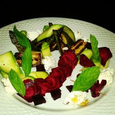 salad,courgettes,beetroot.mint,goat cheese,