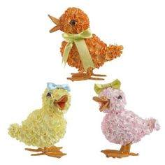 """RAZ Glittered Hydrangea Duck Easter Decoration - Set of 3  Set of 3 Assorted Duck Decorations Pink, Yellow, Orange Made of Paper/Polyfoam Measures 4"""" X 4"""" X 2.5"""" RAZ Exclusive  Additional"""