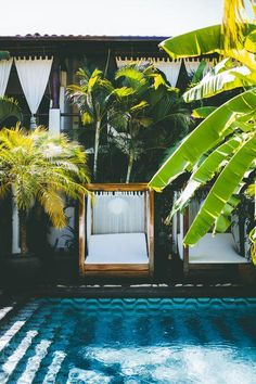 cabanas, palm trees + a serene swimming pool...the perfect summer getaway