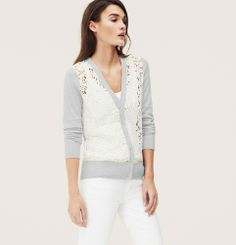 Lace Front V-Neck Cardigan from Loft on shop.CatalogSpree.com, your personal digital mall.