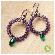 Natural amethyst hoop earrings, copper wire earrings, wire wrapped hoop earrings, victorian Earring,briolette Earring, wire hoops, gemstone earrings