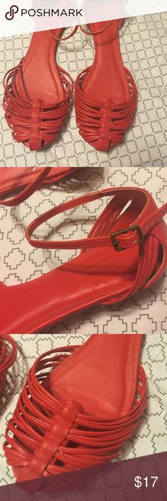 Red American eagle flats Red flags from American eagle that strap around the ankle. Super cute! Only worn a couple of times. American Eagle Outfitters Shoes Flats & Loafers