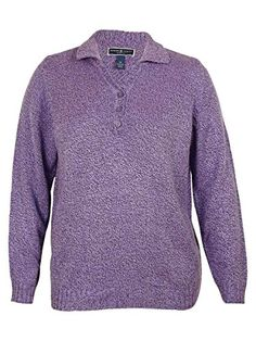 99db4df9 Karen Scott Womens Plus Collared Knit Henley Sweater Purple 3X * To view  further for this