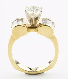 14k Yellow Gold Solitaire Diamond Engagement Ring Princess cut Accents #SolitairewithAccents