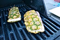 Grill fish on pineapple bark - what a great idea! Works with chicken, too. The juices from the pineapple bark marinate the meat for a smoky, sweet summer flavor.