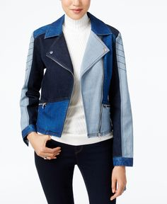 Inc International Concepts Patchwork Denim Moto Jacket, Only at Macy's