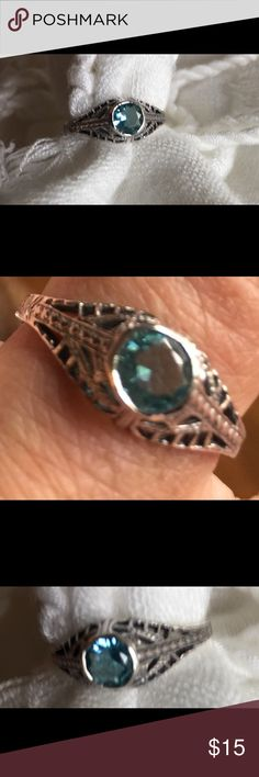 Aquamarine &Silver Ring NEW Cute smaller new sz 8 ring 925 silver with a filigree mounting... would be a perfect surprise for Easter💍 Jewelry Rings