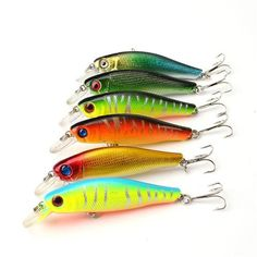 Colorful Fishing Lures 8.5CM/8.5G Artificial baits tackle with Hooks (6pcs/lot)